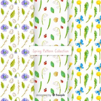 Coleção de padrão de primavera aquarela