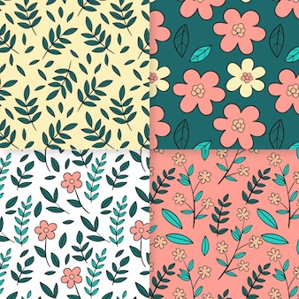 Coleção de padrão de primavera desenhada à mão