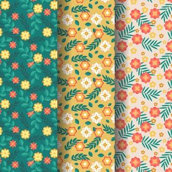 Coleção de padrão de primavera desenhado