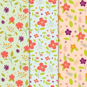 Coleção de padrão de primavera desenhados à mão