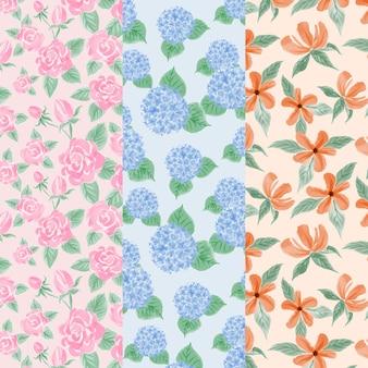 Coleção de padrão de primavera em aquarela