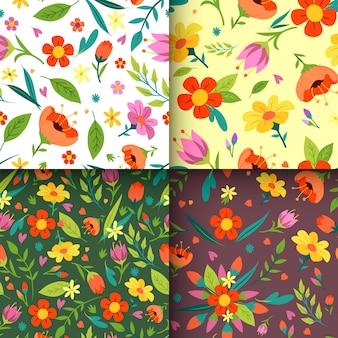 Coleção de padrão de primavera estilo mão desenhada