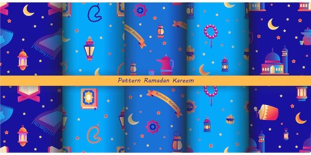Coleção de padrão de ramadan kareem