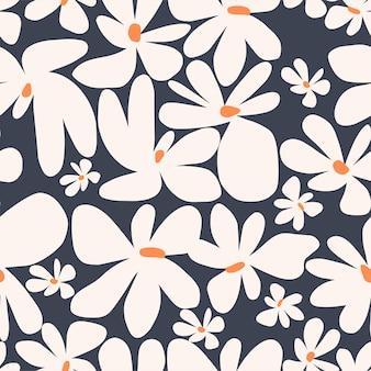 Coleção de padrão de repetição perfeita de ilustração vetorial simples e fofa da flor da escandinávia