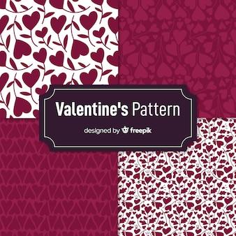 Coleção de padrão de silhuetas de dia dos namorados