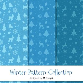 Coleção de padrão de silhuetas de inverno
