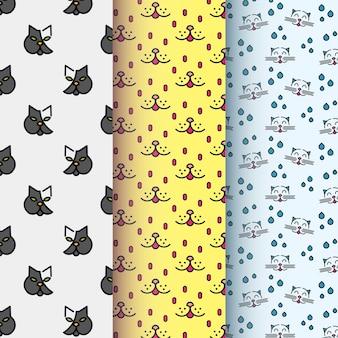 Coleção de padrão de símbolo de gato