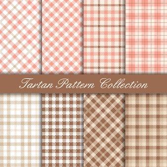 Coleção de padrão de tartan elegante rosa