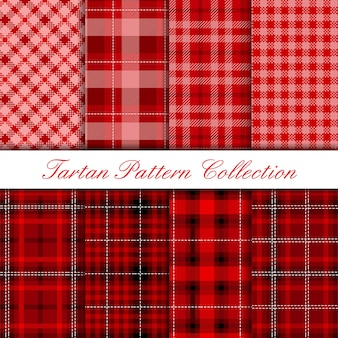 Coleção de padrão de tartan vermelho escuro