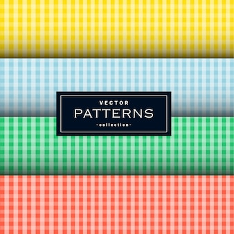 Coleção de padrão de tecido quadrado em quatro cores