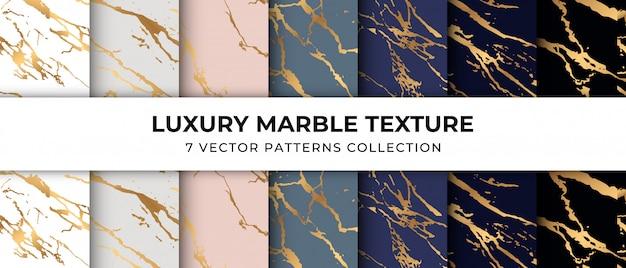 Coleção de padrão de textura de mármore de luxo vetor premium