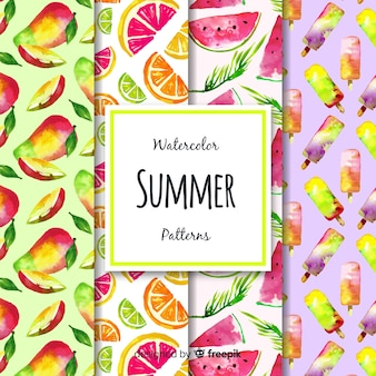 Coleção de padrão de verão aquarela