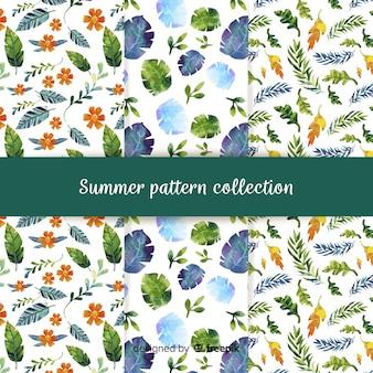 Coleção de padrão de verão plana