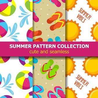 Coleção de padrão de verão. tema de praia. banner de verão. vetor