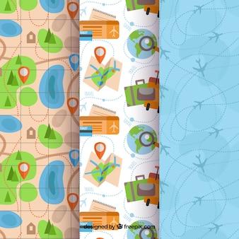 Coleção de padrão de viagem de design plano
