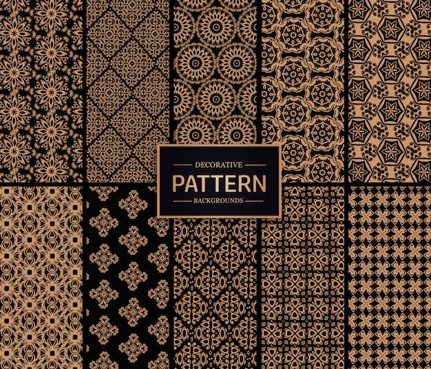 Coleção de padrão decorativo dourado e preto