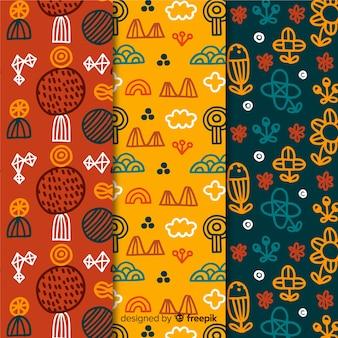 Coleção de padrão desenhado de mão floral colorido