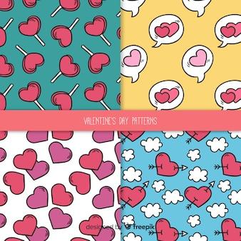 Coleção de padrão dos namorados em quadrinhos