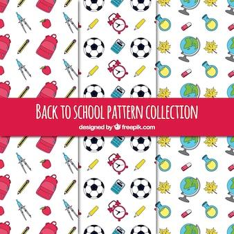 Coleção de padrão escolar colorido mão desenhada
