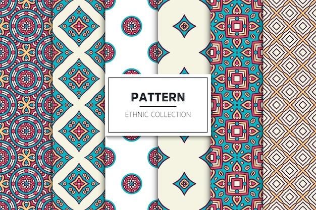 Coleção de padrão étnico ornamental de luxo