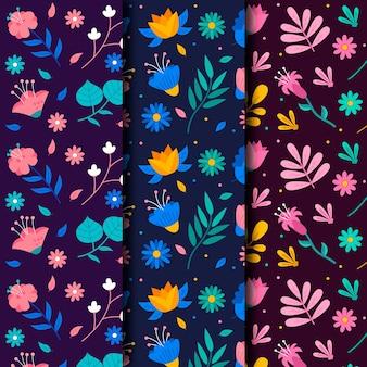 Coleção de padrão floral colorido primavera