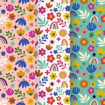Coleção de padrão floral de primavera desenhada à mão