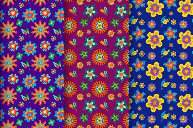Coleção de padrão floral descolada desenhada à mão