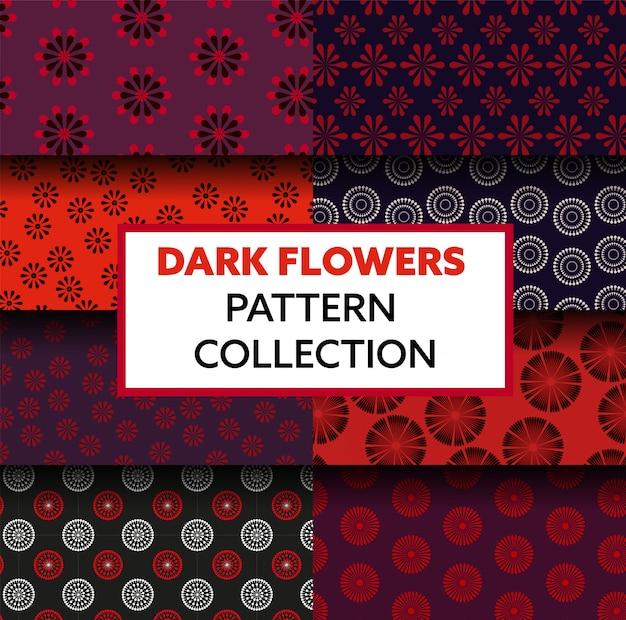 Coleção de padrão floral escuro