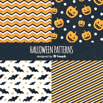 Coleção de padrão geométrico de halloween em design plano