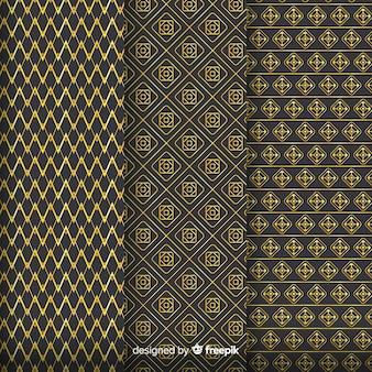 Coleção de padrão geométrico de luxo dourado