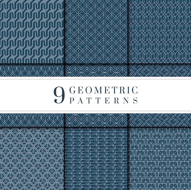 Coleção de padrão geométrico índigo tie-dye