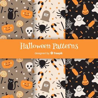Coleção de padrão halloween clássico com design plano