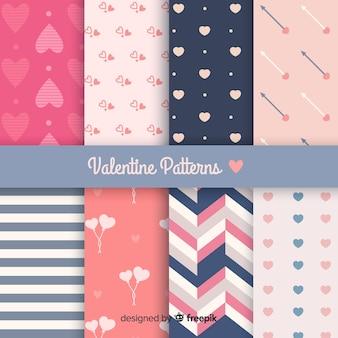 Coleção de padrão plana de dia dos namorados
