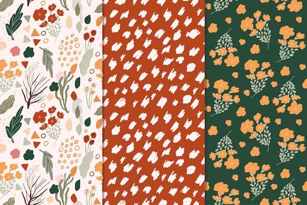 Coleção de padrão sem emenda abstrato floral fofo