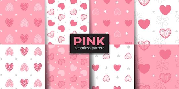 Coleção de padrão sem emenda de coração cor de rosa.