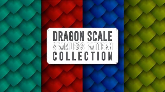 Coleção de padrão sem emenda de escala de dragão