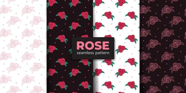 Coleção de padrão sem emenda de flor rosa
