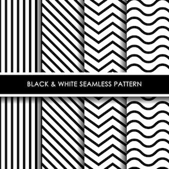 Coleção de padrão sem emenda de linhas preto e branco