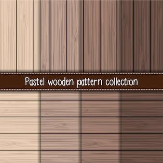 Coleção de padrão sem emenda de madeira gradiente marrom