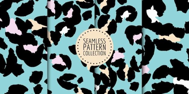 Coleção de padrão sem emenda de manchas de leopardo