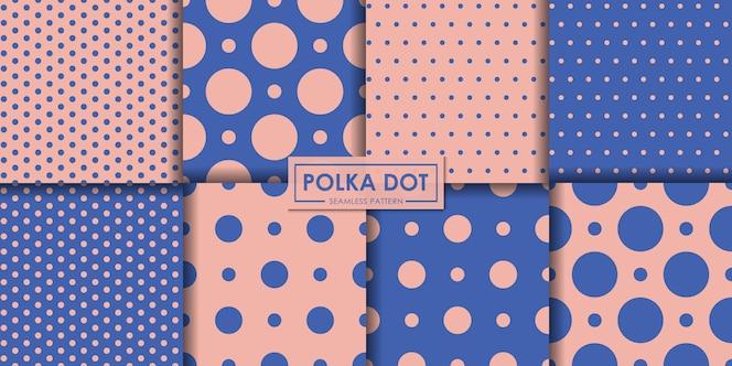 Coleção de padrão sem emenda de polkadot pastel.
