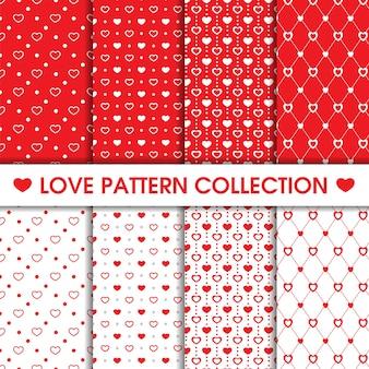 Coleção de padrão sem emenda de pontos de coração