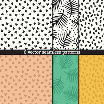 Coleção de padrão sem emenda desenhada à mão