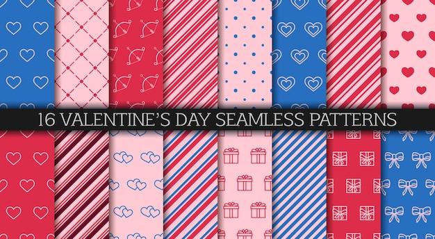 Coleção de padrão sem emenda do dia dos namorados. papel de embrulho com corações, caixas de presente, bolinhas e ornamentos abstratos.