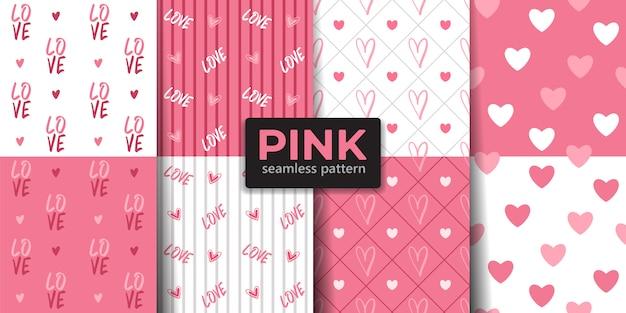 Coleção de padrão sem emenda dos namorados cor-de-rosa.