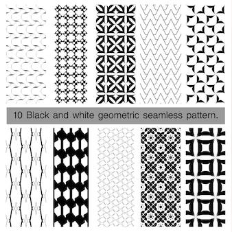 Coleção de padrão sem emenda geométrico preto e branco