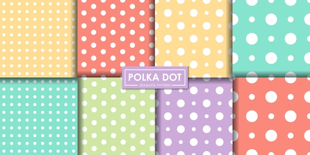 Coleção de padrão sem emenda pastel polkadot