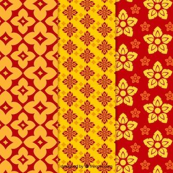 Coleção de padrão tailandês colorido com design plano