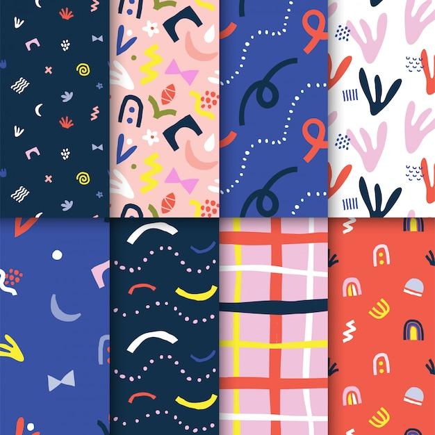 Coleção de padrões abstratos de vetores sem costura