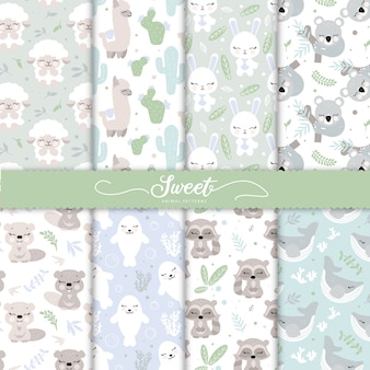 Coleção de padrões animais de bebê dos desenhos animados para papel de parede bebê